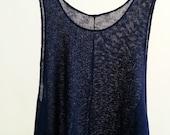 Navy Blue Tank Top Women Beach Cover Up Mesh Knit Oversize Sleeveless