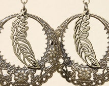 Boho Earrings Bohemian Leaf  Earrings Brass Metal Dangle Earrings Filigree Hoop Earrings Gypsy Earrings Jewelry