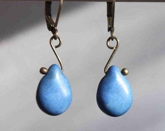 Blue Earrings Brass earrings Dangle Jewelry earrings Drop Earrings Jewelry Gift For Her Gift Ideas For Her