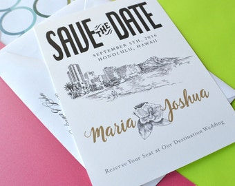 Hawaii Skyline Destination Wedding Save the Date Cards (set of 25 cards)