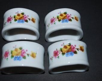 Vintage Napkin Rings Porcelain Napkin Rings Four Piece