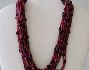 Red and Black Seed Bead Choker
