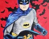 1966 Batman Adam West  Dark Knight Robin Comic Book Collectible Christian Bale Ben Affleck Superman Justice League Canvas Painting Home Deco