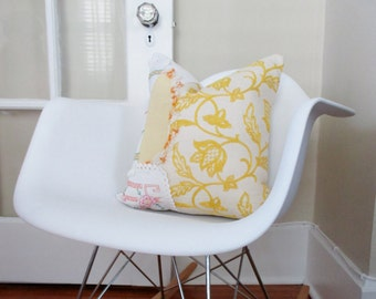 Upcycled Pillow Cover, Accent Pillow, 16X16 Pillow Cover, Sofa Pillow, Vintage Fabric