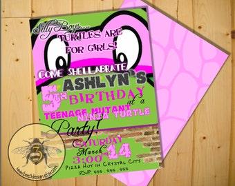 Teenage Mutant Ninja Turtle Girl / Princess Birthday Invitation