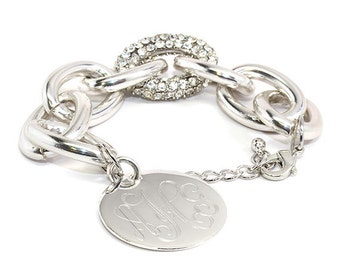 Silver Thick Chain Link Bracelet with a touch of BLING!