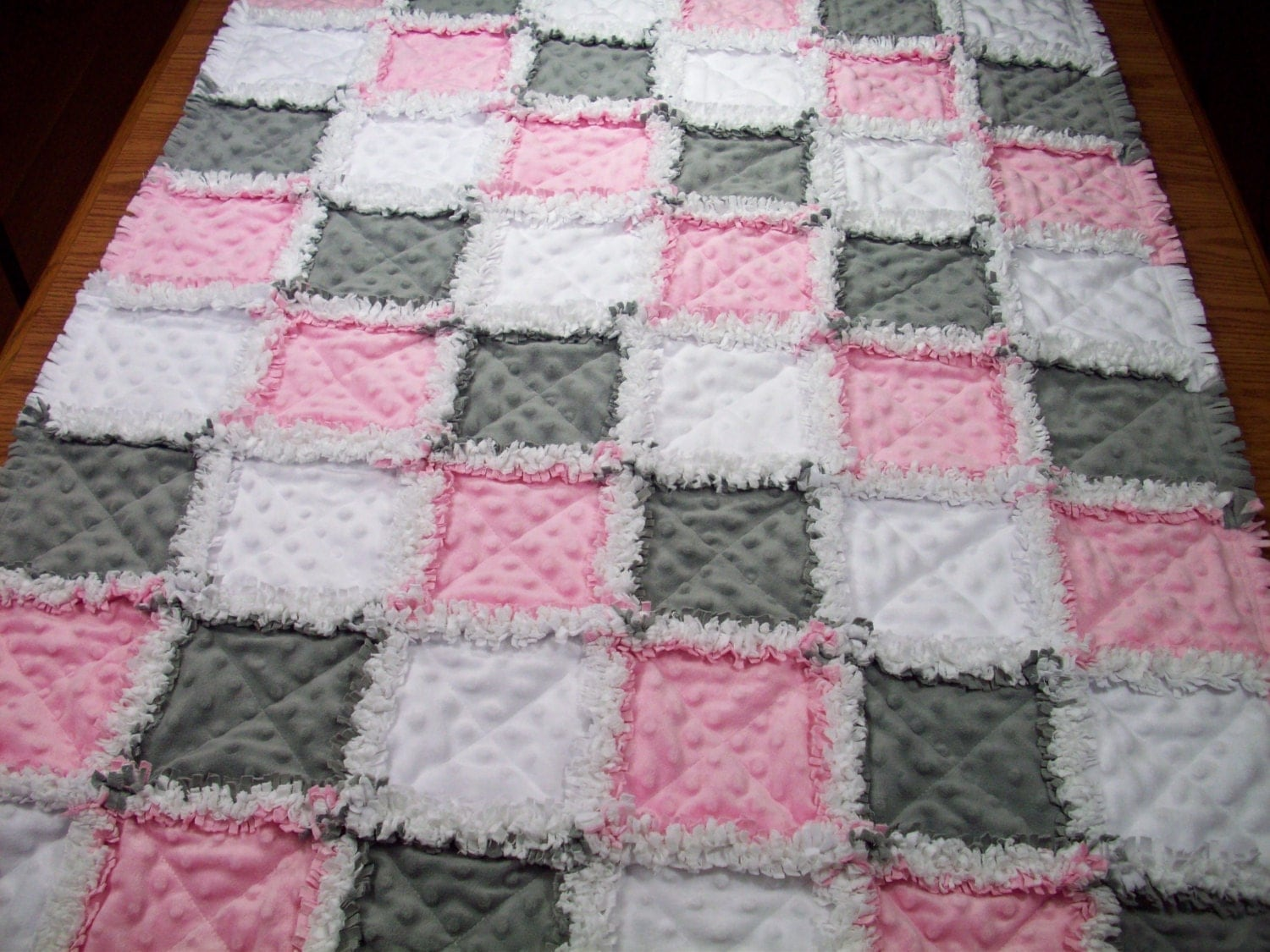 Baby Rag Quilts Pink Grey Baby Quilt Minky Rag Quilt Girls