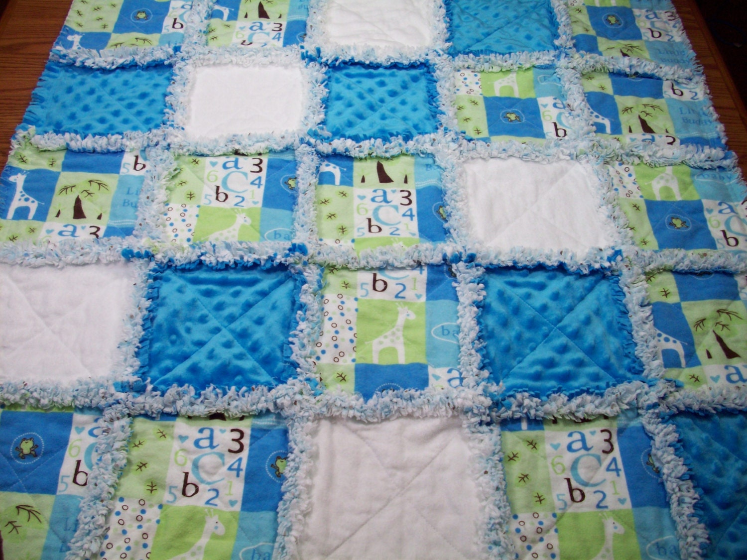 Baby Rag Quilts Abc 123 Baby Quilt Blue Rag Quilt Boys Baby
