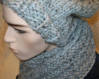 Chunky Knit Slouchy Hat and Ribbed Scarf Hat and Scarf Set Grey Marble Wool Ease Thick and Quick Yarn Handmade