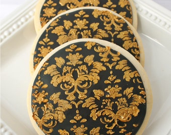 Black and Gold Damask Cookies - 1 Dozen