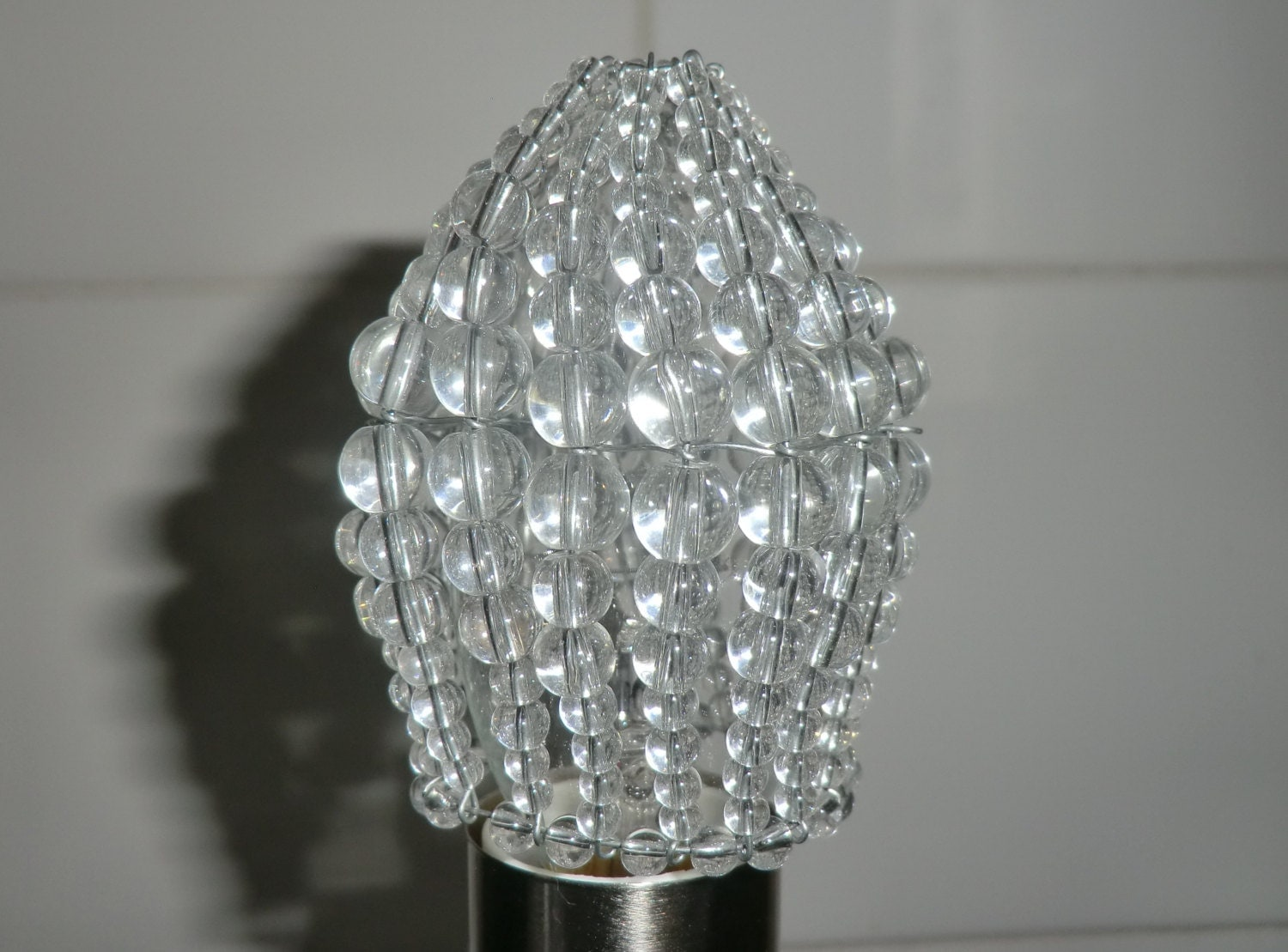 Chandelier Inspired Moroccan Glass Bead Light Bulb Candle