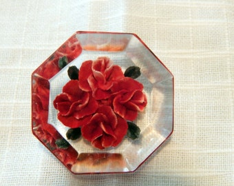 Great octagon lucite brooch, reverse carved with roses