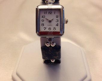 One of a Kind, Genuine Blue Sea Sediment Jasper Stretch Bracelet Watch!