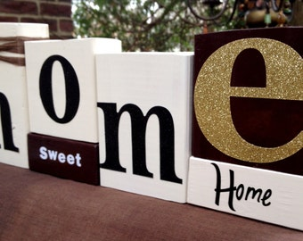 HOME SWEET HOME wood word stacking block set for home decor and decorating...
