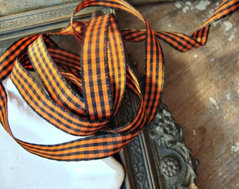 2 Yards - Black and Orange Gingham Check Halloween Ribbon