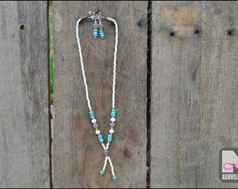 Sterling Silver Turquoise Necklace and Earring set (501S)
