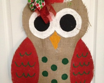 Owl - Burlap Door Hanger / Wreath
