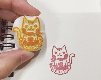 cat with chestnut pattern hand carved rubber stamp