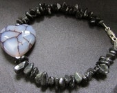 Gothic Inspired Dragon Vein Agate, Obsidian and Sterling Silver Gemstone Bracelet.