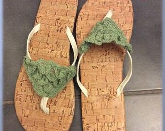 Ladies Flip Flops, Crocheted Flip Flop Embellishment, Summer Shoes