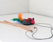 Feather Mouse Cat Teaser- Multi Color
