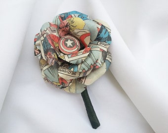 Comic Book Paper Rose Boutonniere