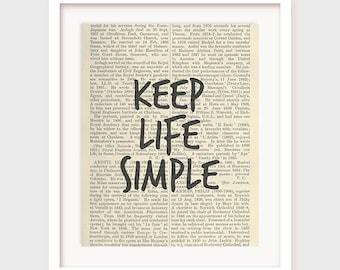 Printable Inspirational Phrase, Keep Life Simple, Minimal Art, Printable Wall Decor, Bedroom Art, Wall Art, Inspirational Poster