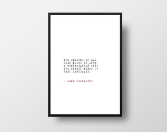 Reading Quote, Rene Descartes, Black and White,  Wall Art,  Minimalist, Paper Gift, Posters, Quotes, Book Quotes,  Art Print