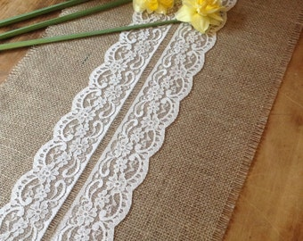 8ft Handmade Hessian and Lace Table Runner