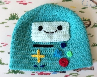 BMO Beemo inspired hat from Adventure Time. Crocheted hat available in all sizes. Photography prop.