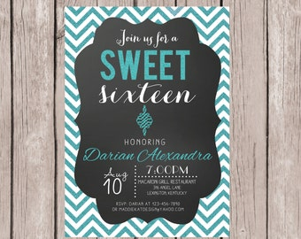 PRINTABLE- Sweet 16 Birthday Invitation- Sweet 16 Birthday Invite- Blue Glitter Birthday Party Invite- 5x7 JPG
