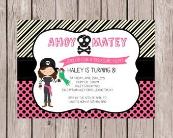 PRINTABLE- Treasure Hunt Birthday Invitation - Pirate Birthday Invite- Birthday Invite- Girl's Birthday Invite- 5x7 JPG