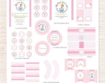 Cinderella Birthday Party Full Printable Collection | Cinderella Party Printable Package | Girl Birthday | Gracie Lee Design