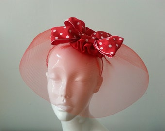 Fascinator in RED with polka dot bow