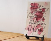 4x6 Maroon Watercolor Quote Painting - CS Lewis