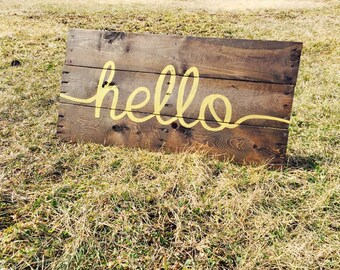 Gold Hello Wood Sign - Hello Wooden Sign - Reclaimed Wooden Sign - Rustic Wedding Reception Sign Welcome Sign - Rustic Wooden Welcome Sign