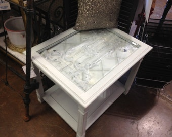Antique tin ceiling end table,one of a kind!