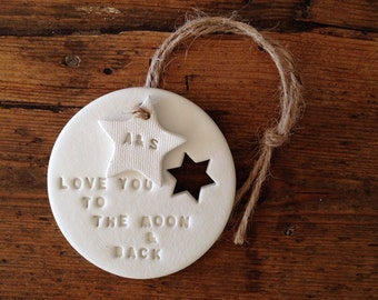 Love you to the moon: clay decoration & personalised tag ~ Valentine's gift ~ wedding gift ~ christmas gift ~ Mother's Day ~ nursery decor