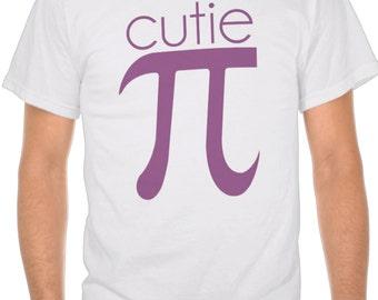 Mens T Shirt Cutie Pi Shirt Funny Tee For Men Math Joke Apparel For Guys