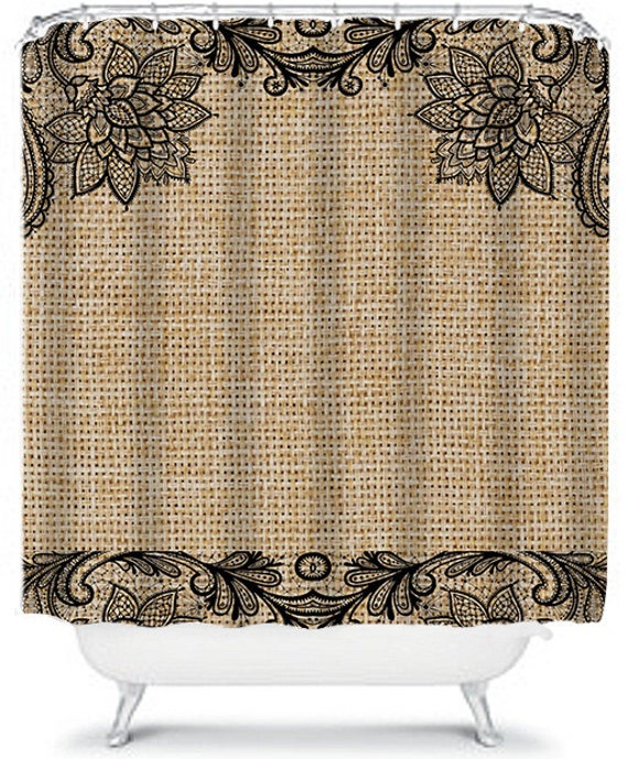 Floral and Lace Burlap Shower Curtain, Black Lace Shower Curtain With ...
