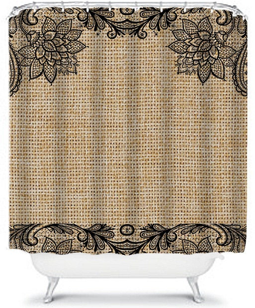 Floral And Lace Burlap Shower Curtain Black Lace By