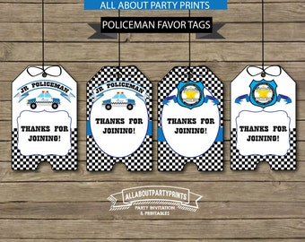 Instant Download-Police Theme Party Favor tags printables