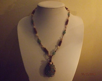 Adventurine Wire Work Necklace + Free Earrings