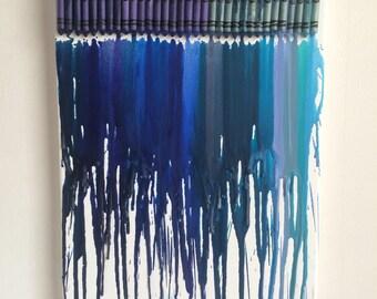 Blue crayon canvas art
