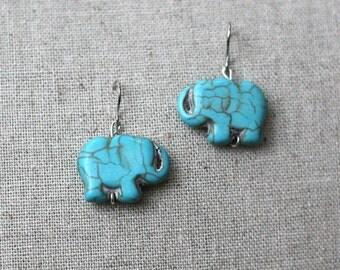 Turquoise Dyed Howlite Natural Elephant Earrings