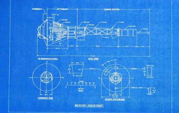 NASA Mercury Spacecraft Blueprint by BlueprintPlace2 on Etsy