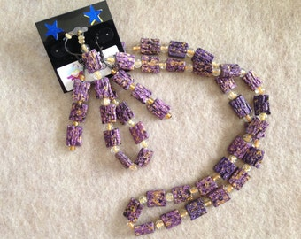 Purple and Gold beaded set of 3-Necklace Bracelet and Earrings