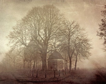 Chapel in the fog, Fine Art Photography - landscape, fog, chapel, nature, rural, hologram, trees, tree photography, fog photography