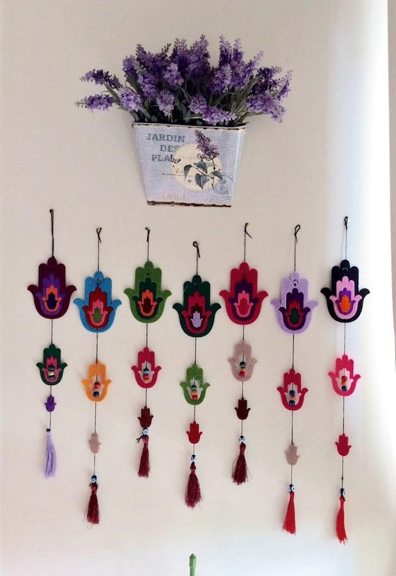 Evil Eye Decoration Wall Hanging : Items similar to set of unique hamsa felt wall hanging