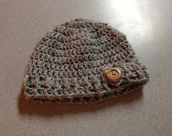 Baby Boy's Ribbed Brim Beanie with a Working Button Flap